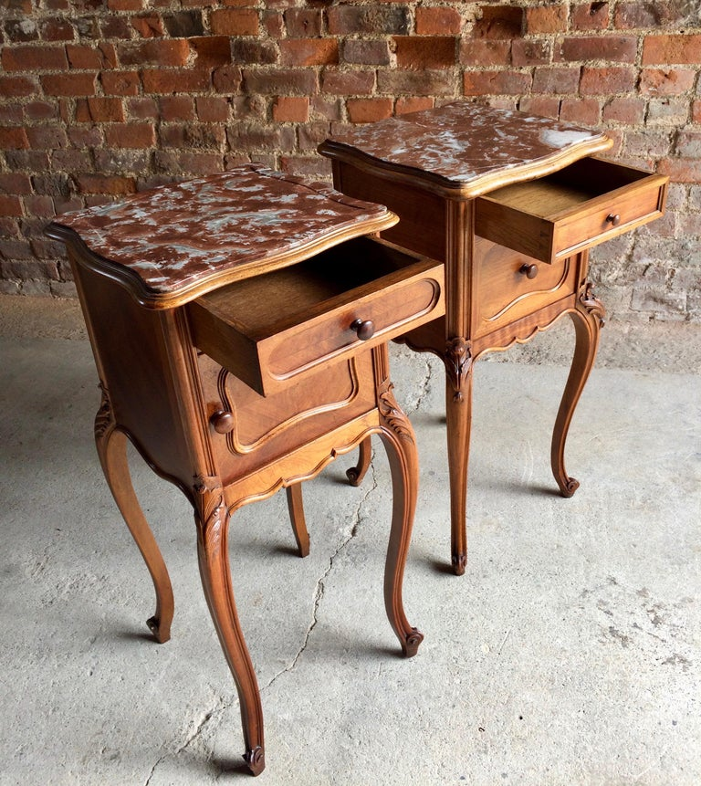 French Provincial Antique Bedside Tables Nightstands Marble Pair Victorian 1875 For