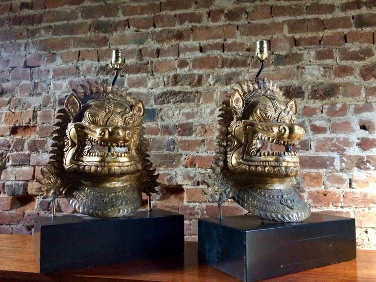 Chinese Export Oriental Side Lights Lamps Dragon Mask Asian Pair Gilt Metal Large For Sale