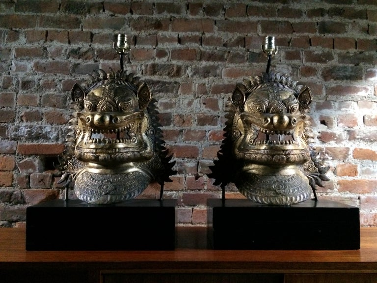 Late 20th Century Oriental Side Lights Lamps Dragon Mask Asian Pair Gilt Metal Large For Sale