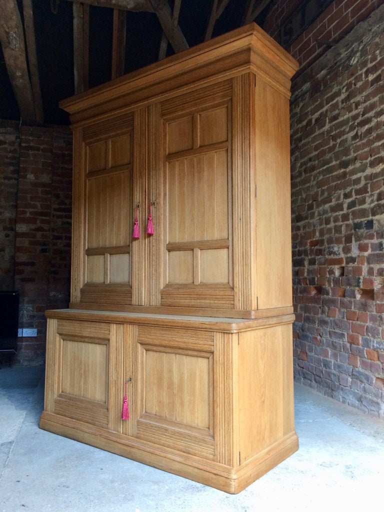 Antique Housekeepers Cupboard Cabinet Solid Ash Large Victorian, 19th Century For Sale 7