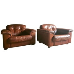 De Sede DS 101 Armchairs Lounge Chairs Leather, 1960s, Pair