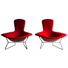 Pair of Harry Bertoia Bird Chairs in Red for Knoll International