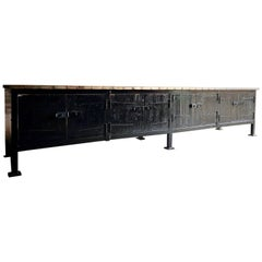 Large Industrial Steel Workbench Sideboard Loft Style