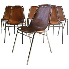 Les Arcs Chairs Charlotte Perriand Dining Chairs Leather, Set of Six, 1960s
