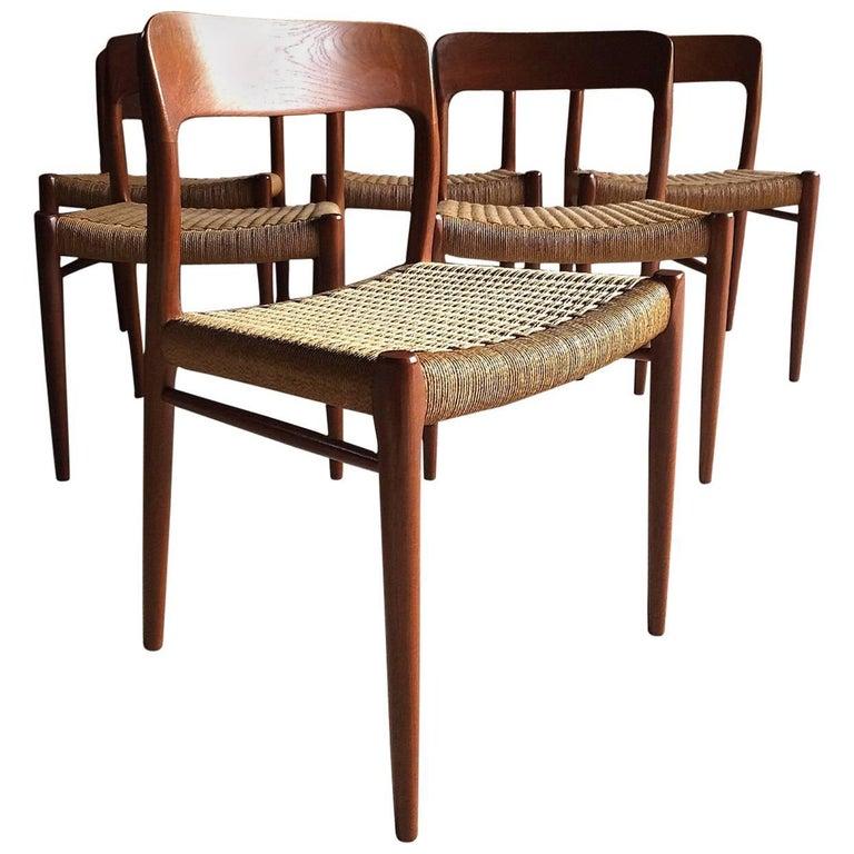Niels Otto Moller Dining Chairs Set of Six Model 75 JL Møller Møbelfabrik Danish