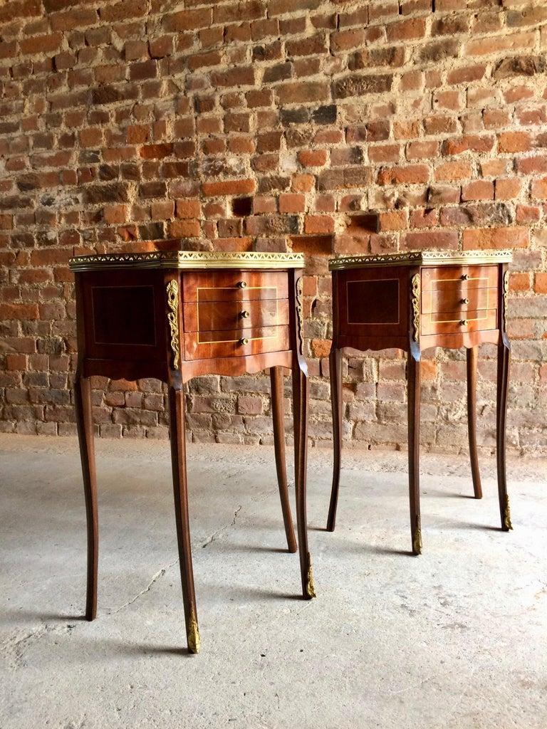 Brass Fabulous French Bedside Tables Nightstands Rosewood and Walnut Louis XV, Pair For Sale