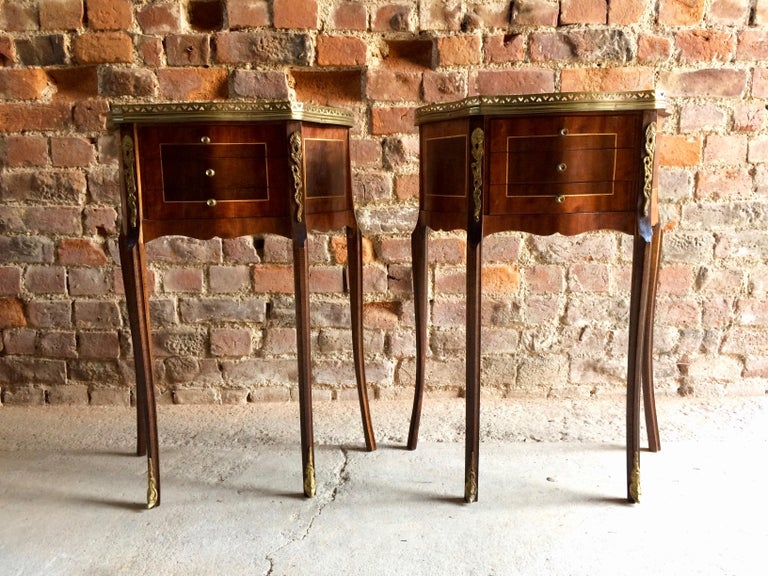Fabulous French Bedside Tables Nightstands Rosewood and Walnut Louis XV, Pair For Sale 4