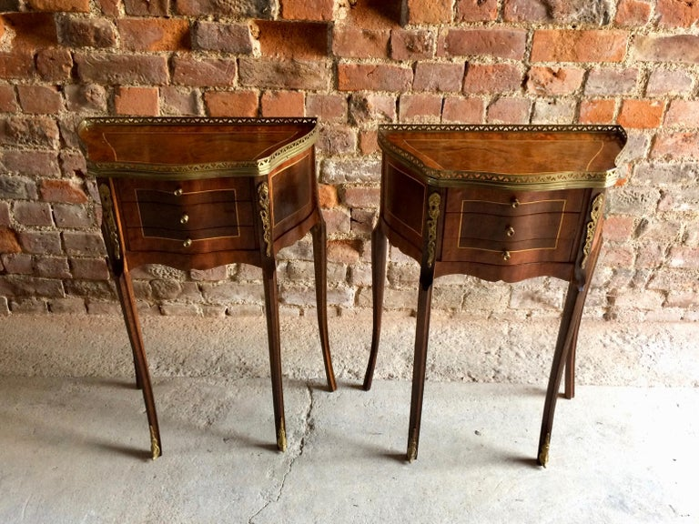 Fabulous French Bedside Tables Nightstands Rosewood and Walnut Louis XV, Pair For Sale 5