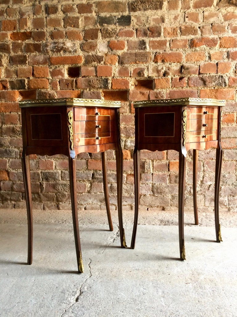 Fabulous French Bedside Tables Nightstands Rosewood and Walnut Louis XV, Pair For Sale 6
