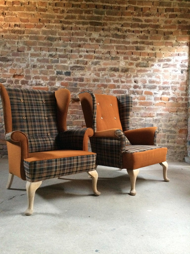 Mahogany Fabulous Armchairs Pair the Thunderbird Parker Knoll Fireside Wing Chair Bespoke For Sale