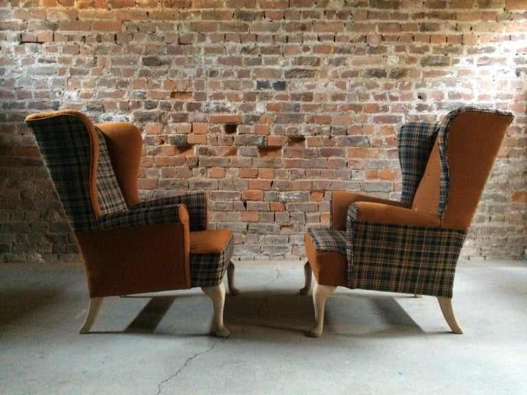 Fabulous Armchairs Pair the Thunderbird Parker Knoll Fireside Wing Chair Bespoke For Sale 1