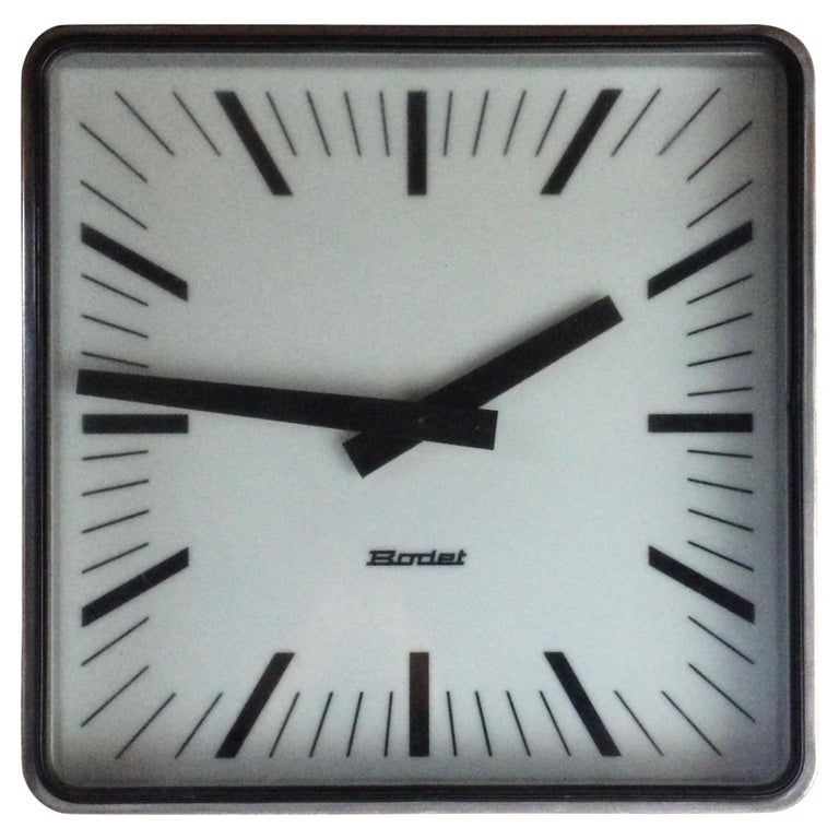 Bodet Station Clock Large Industrial Wall Clock Loft Style, French, 1960s