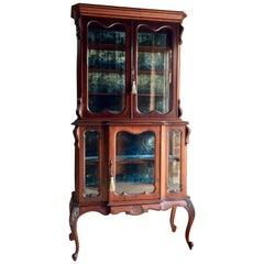 Antique Display Cabinet Vitrine Mahogany Victorian, 19th Century