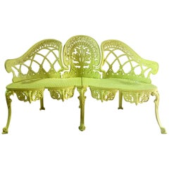 French Metal Garden Bench Vintage 1960s Lemon Yellow