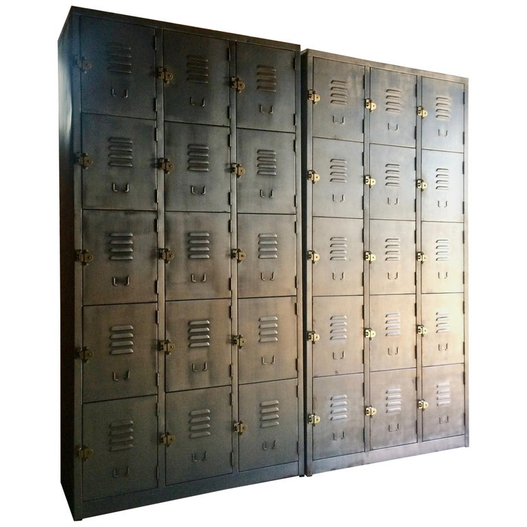 Hong Kong Fabulous Industrial Metal Lockers Thirty Cabinets Loft Style Brushed Steel For Sale