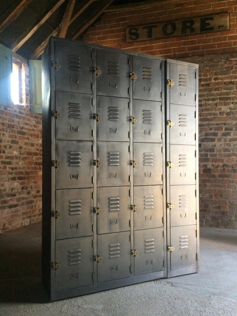 Hong Kong Stunning Industrial Metal Lockers Loft Style Brushed Steel Cabinets 20 Cabinets For Sale