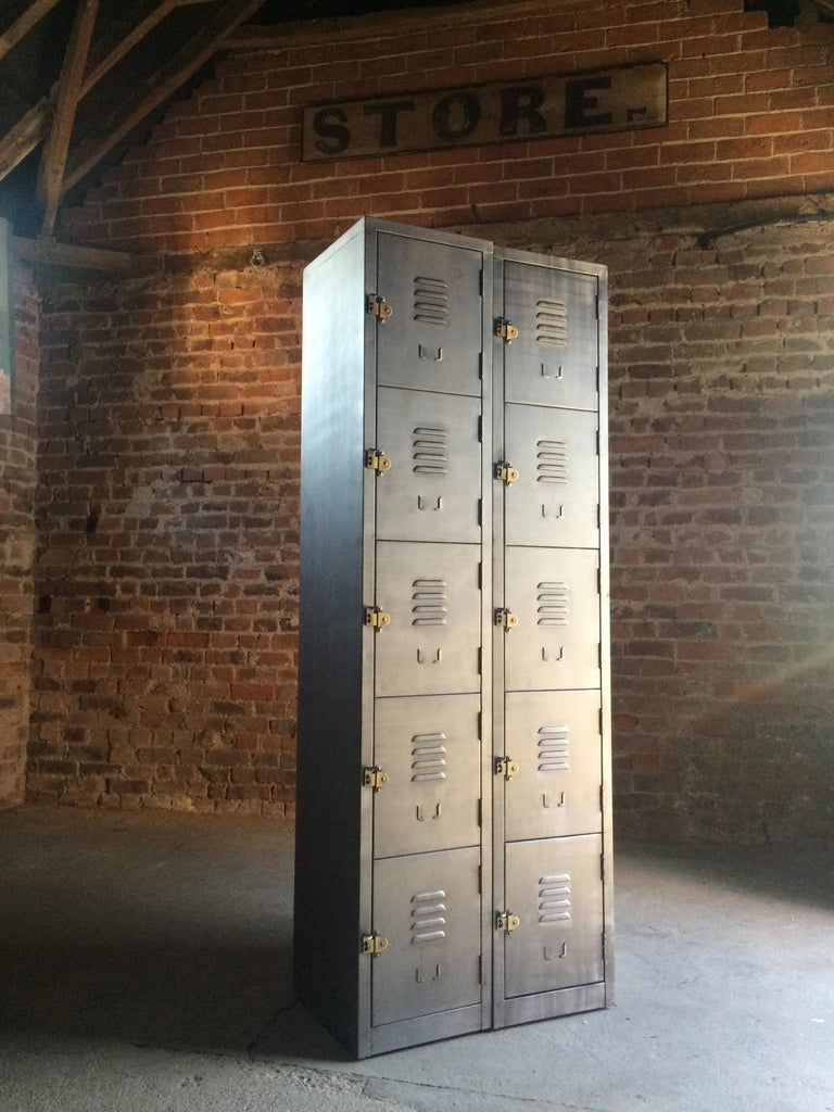 Polished Stunning Industrial Metal Lockers Loft Style Brushed Steel Cabinets 20 Cabinets For Sale
