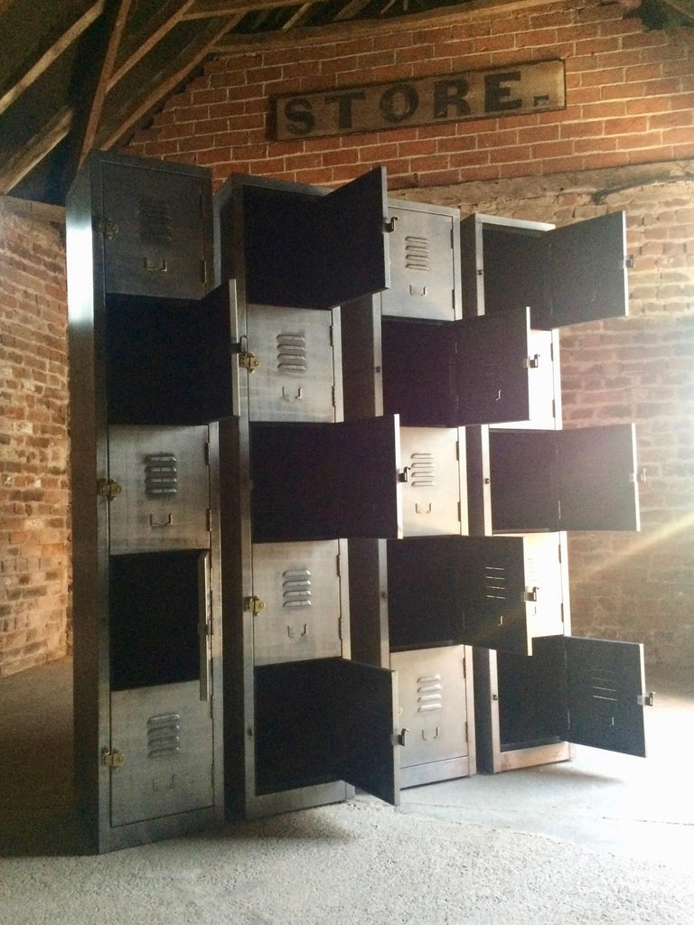 Contemporary Stunning Industrial Metal Lockers Loft Style Brushed Steel Cabinets 20 Cabinets For Sale