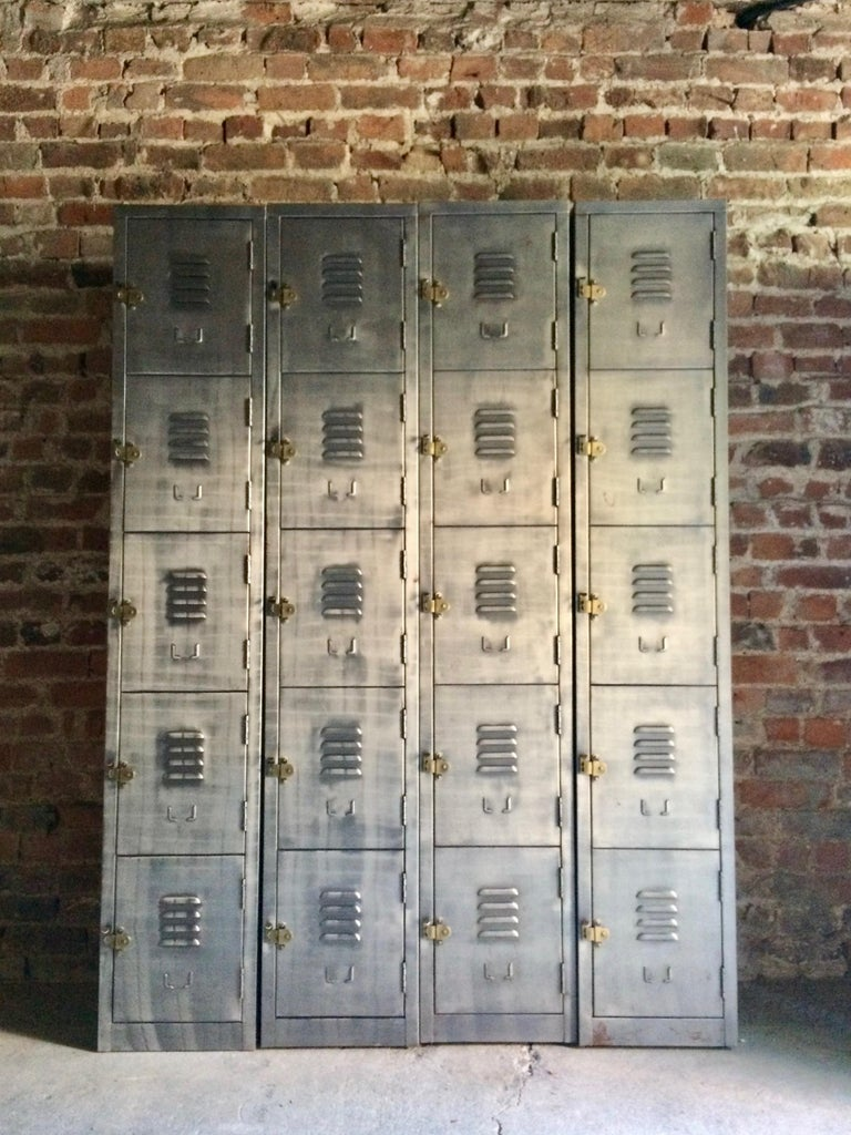Stunning Industrial Metal Lockers Loft Style Brushed Steel Cabinets 20 Cabinets For Sale 1
