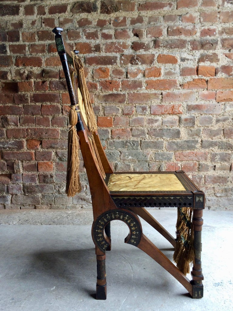 Moorish Bugatti Chair Carlo Bugatti Walnut and Copper Side Chair Italian Signed, 1900