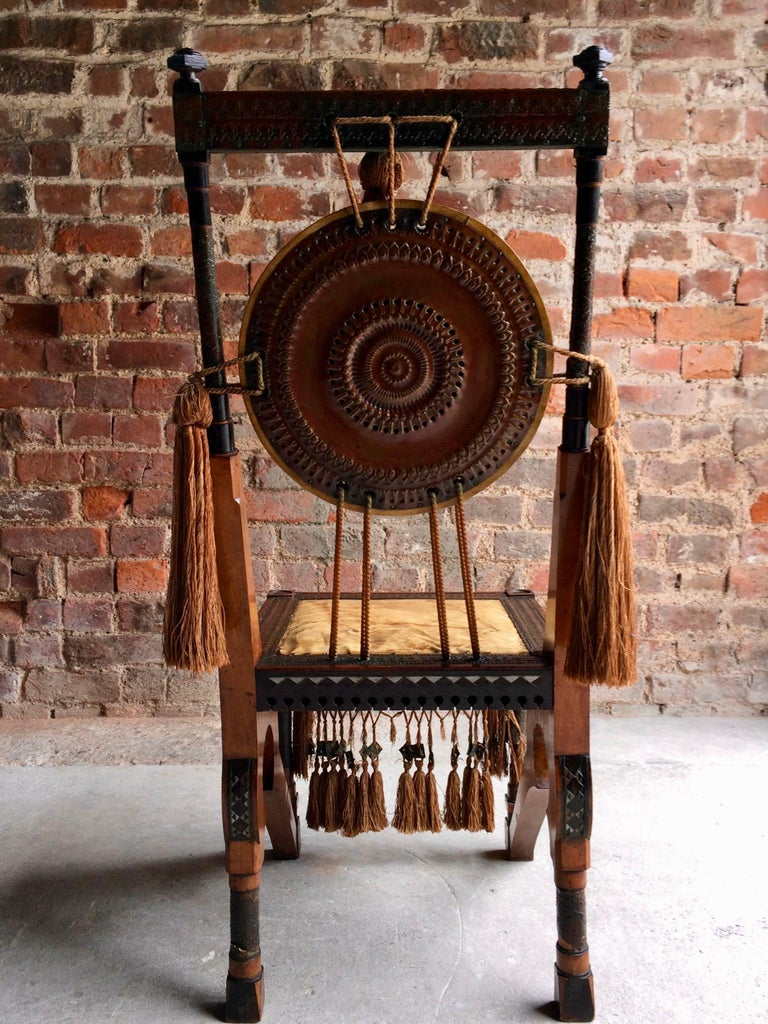 Bugatti Chair Carlo Bugatti Walnut and Copper Side Chair Italian Signed, 1900 In Good Condition In Longdon, Tewkesbury