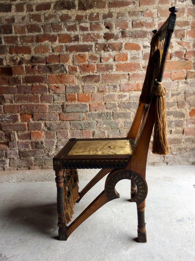 20th Century Bugatti Chair Carlo Bugatti Walnut and Copper Side Chair Italian Signed, 1900