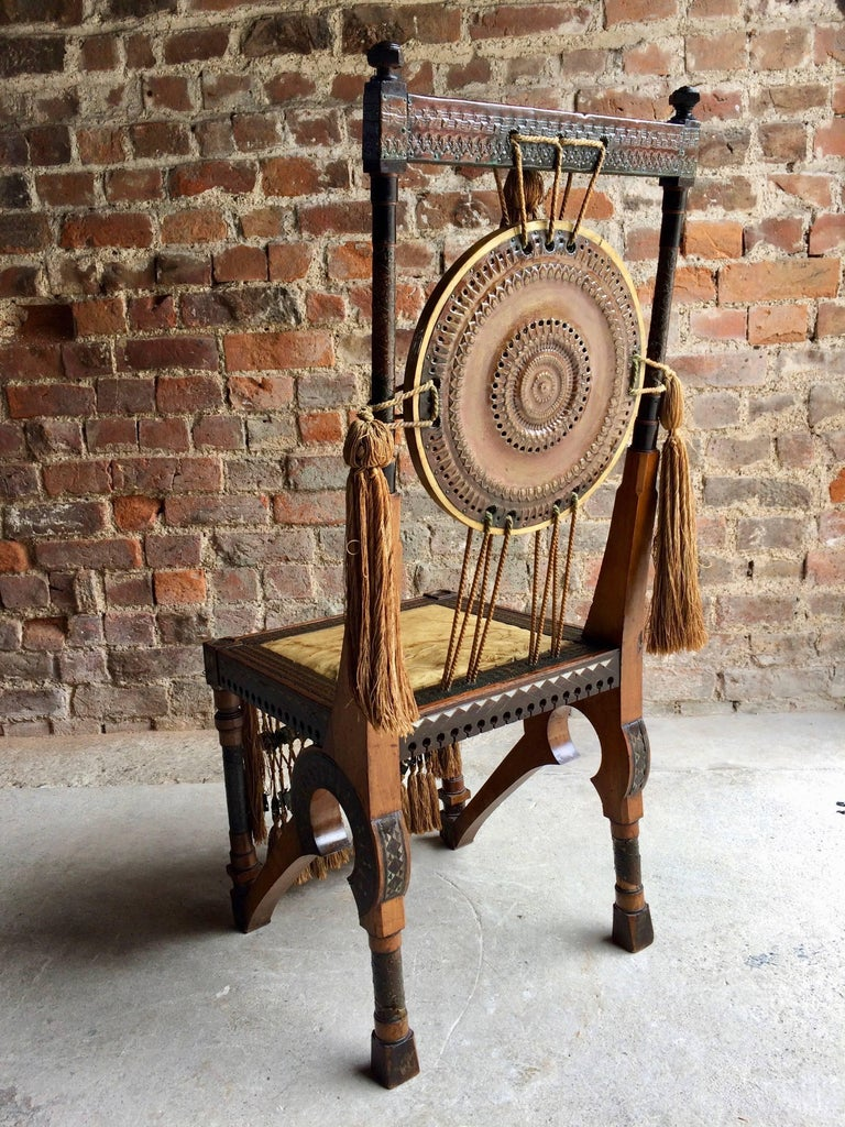 Bugatti Chair Carlo Bugatti Walnut and Copper Side Chair Italian Signed, 1900 1