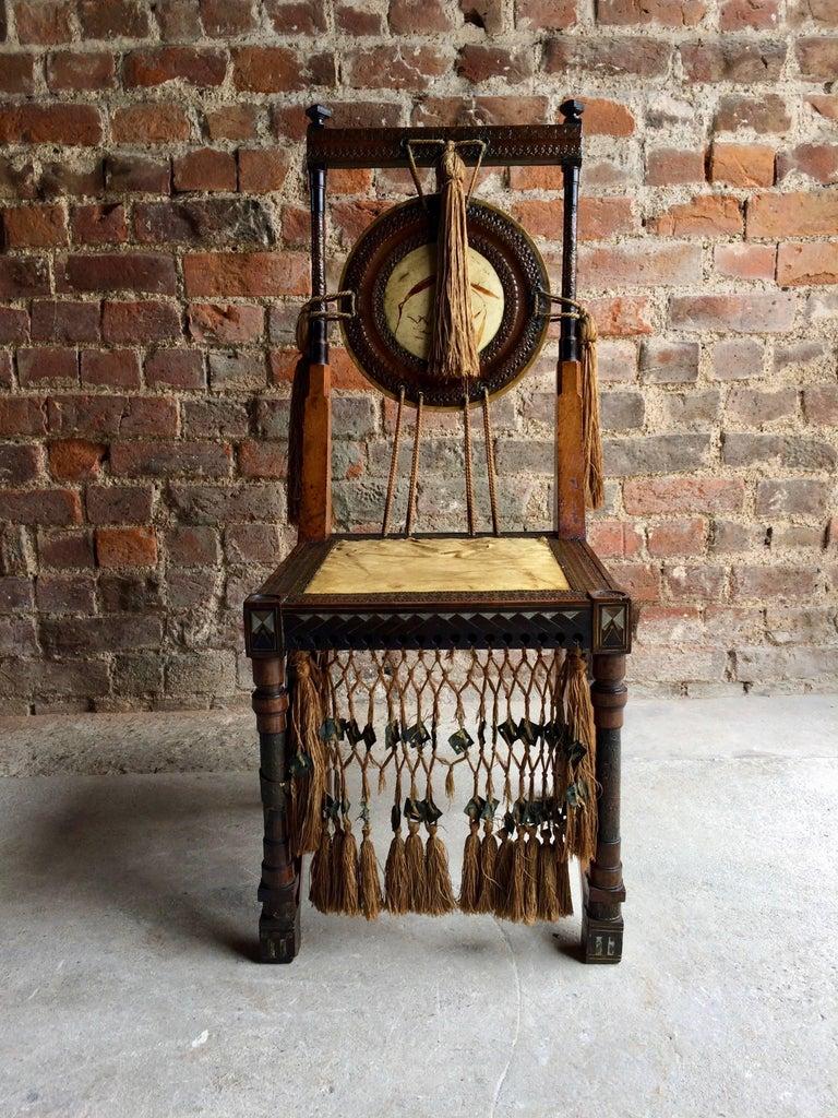 Bugatti Chair Carlo Bugatti Walnut and Copper Side Chair Italian Signed, 1900 2