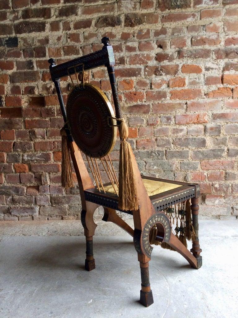 Bugatti Chair Carlo Bugatti Walnut and Copper Side Chair Italian Signed, 1900 4