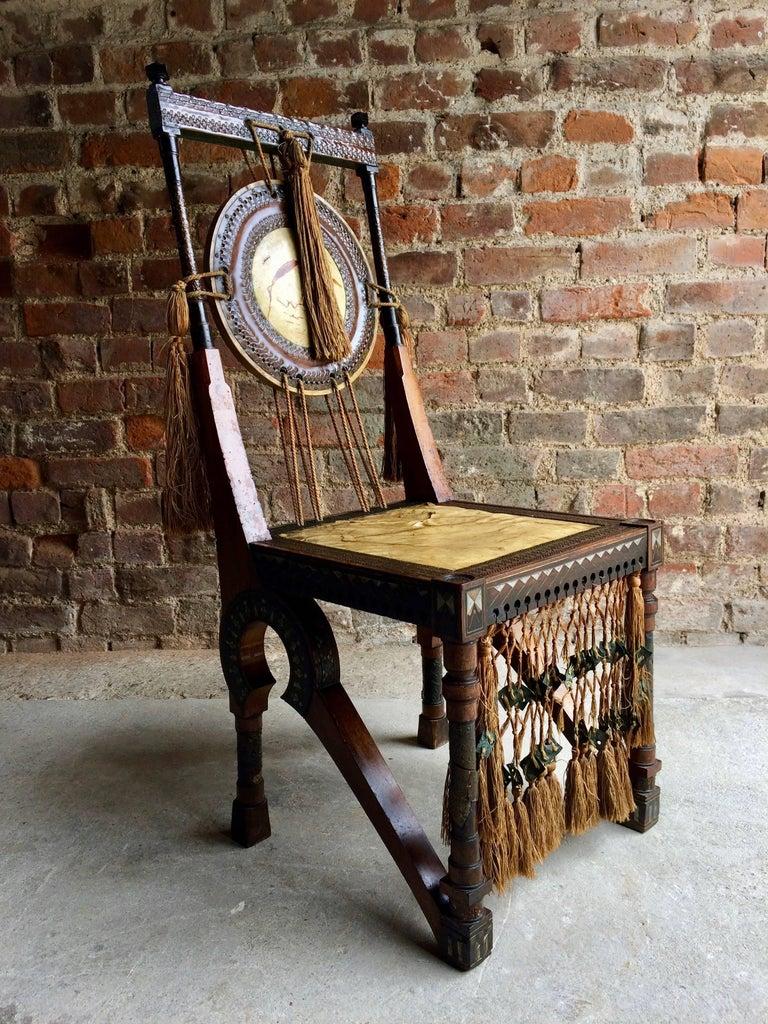 Bugatti Chair Carlo Bugatti Walnut and Copper Side Chair Italian Signed, 1900 5