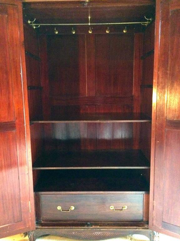 Antique Double Wardrobe Armoire Two Door Mirrored Walnut