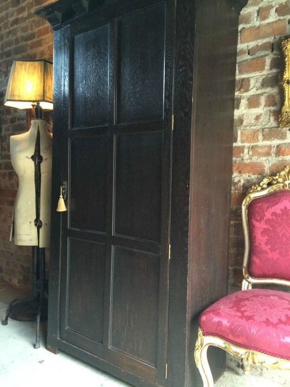 Antique Single Wardrobe Armoire One Door Oak 19th Century Victorian 2