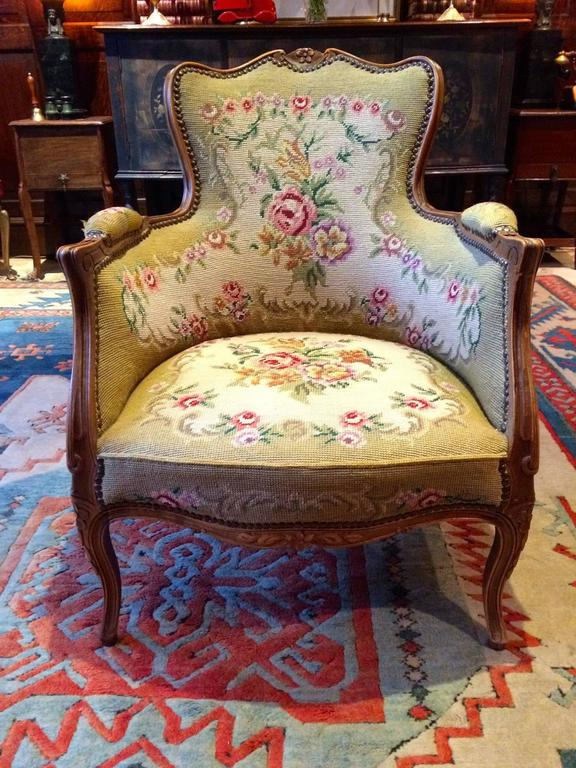 Antique Armchair French Mahogany Footstool Tapestry Victorian 19th Century In Excellent Condition For Sale In Longdon, Tewkesbury