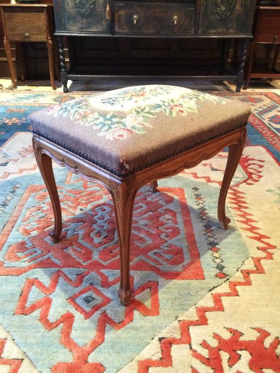 Antique Armchair French Mahogany Footstool Tapestry Victorian 19th Century For Sale 1