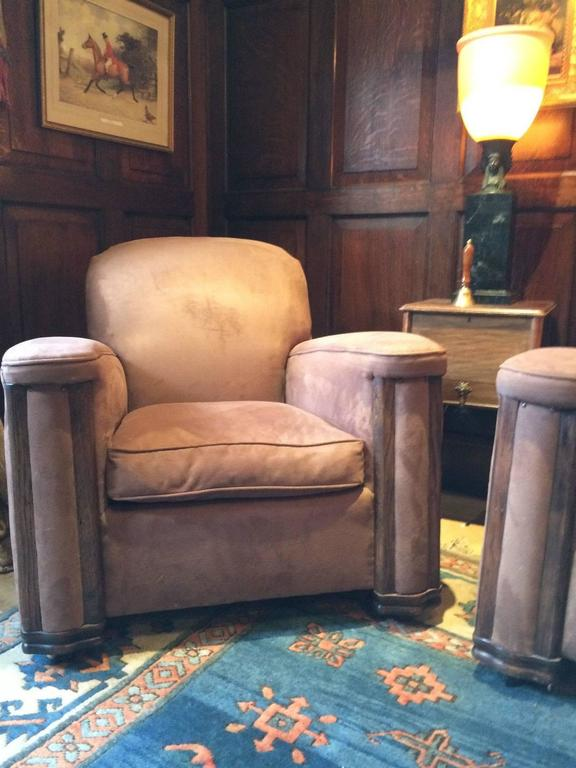 Art deco sofa and two armchairs brown suede suite settee - Brown suede living room furniture ...