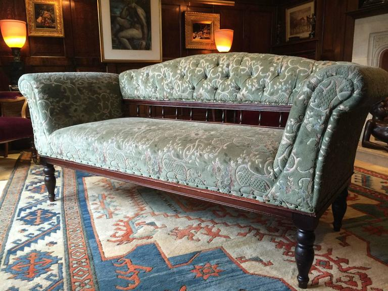 Antique Sofa Oak Settee Club Style Victorian Green Velvet 19th Century In  Excellent Condition For Sale