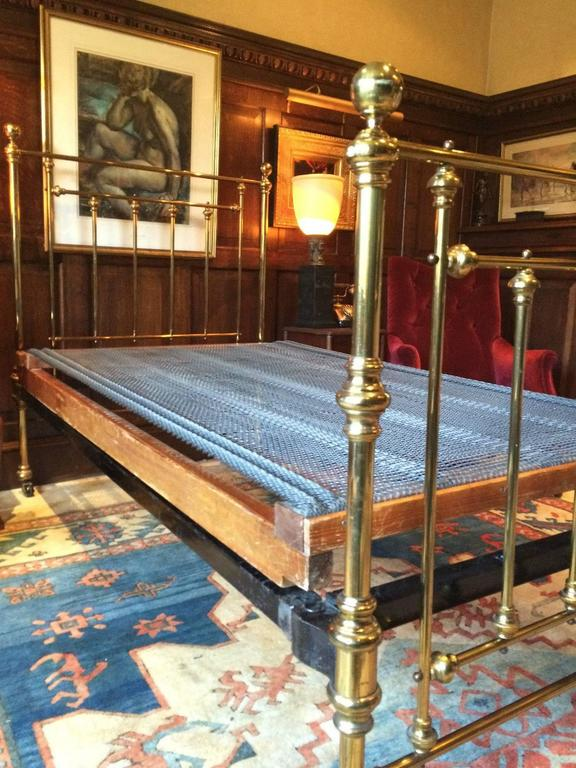 Antique Bed Victorian Single Brass Bed 19th Century Base Casters at ...