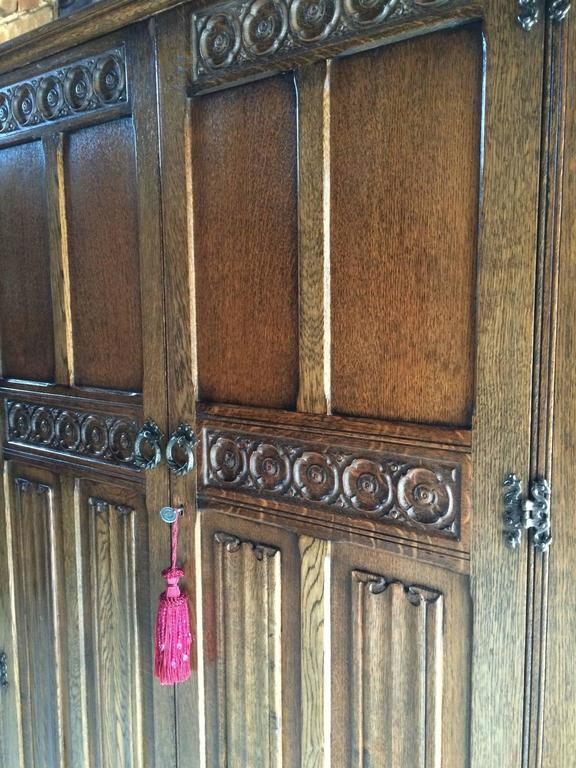 A Gorgeous Old Charm Style Solid Oak Two Door Double Wardrobe Of Tall