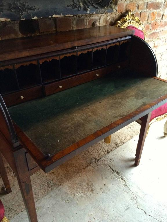 Antique Roll Top Desk Writing Table Mahogany Victorian