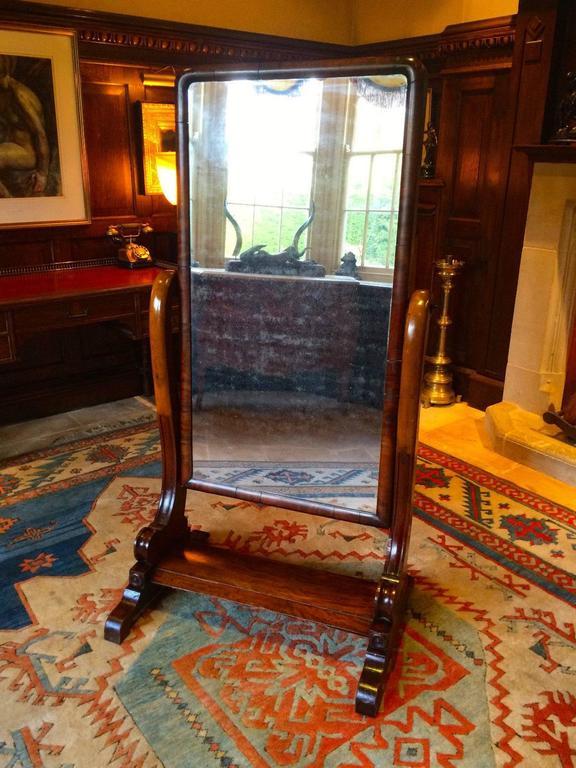 Antique cheval mirror mahogany victorian 19th century for 6 foot floor mirror