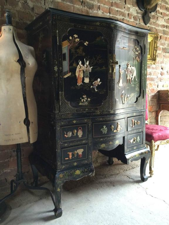 Antique Style Cabinet Dresser Chest Chinoiserie Oriental Lacquered At 1stdibs