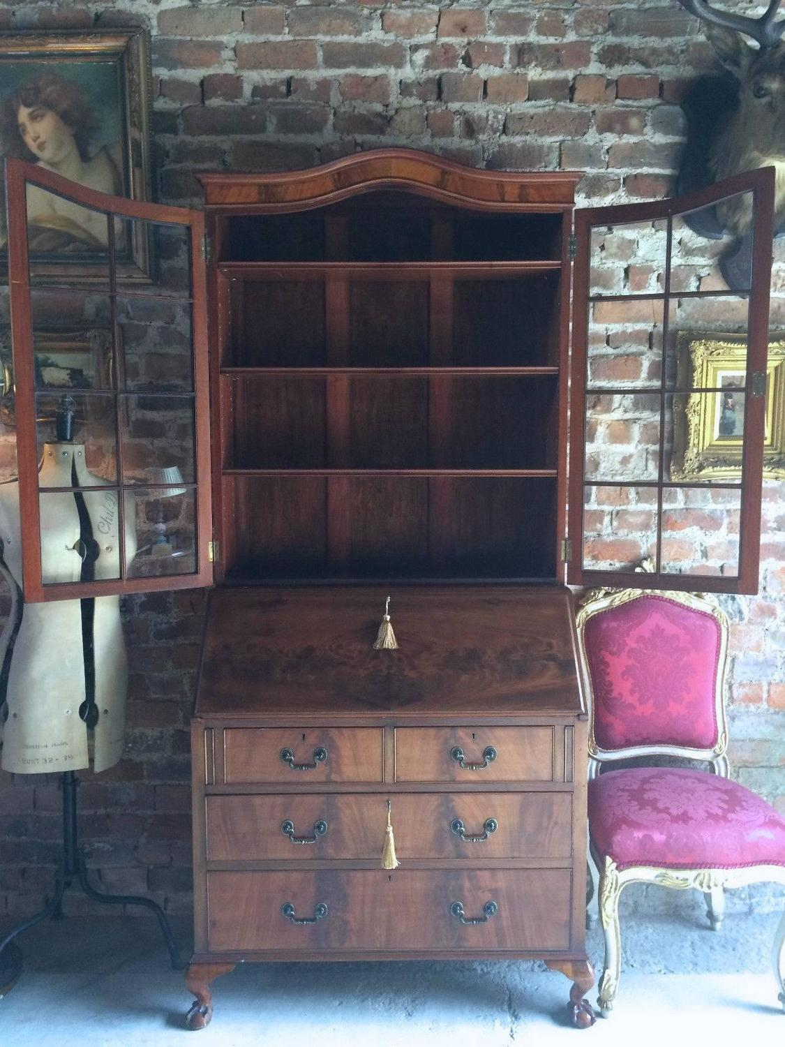 Antique style writing bureau bookcase secretaire mahogany at 1stdibs - Bureau secretaire antique ...
