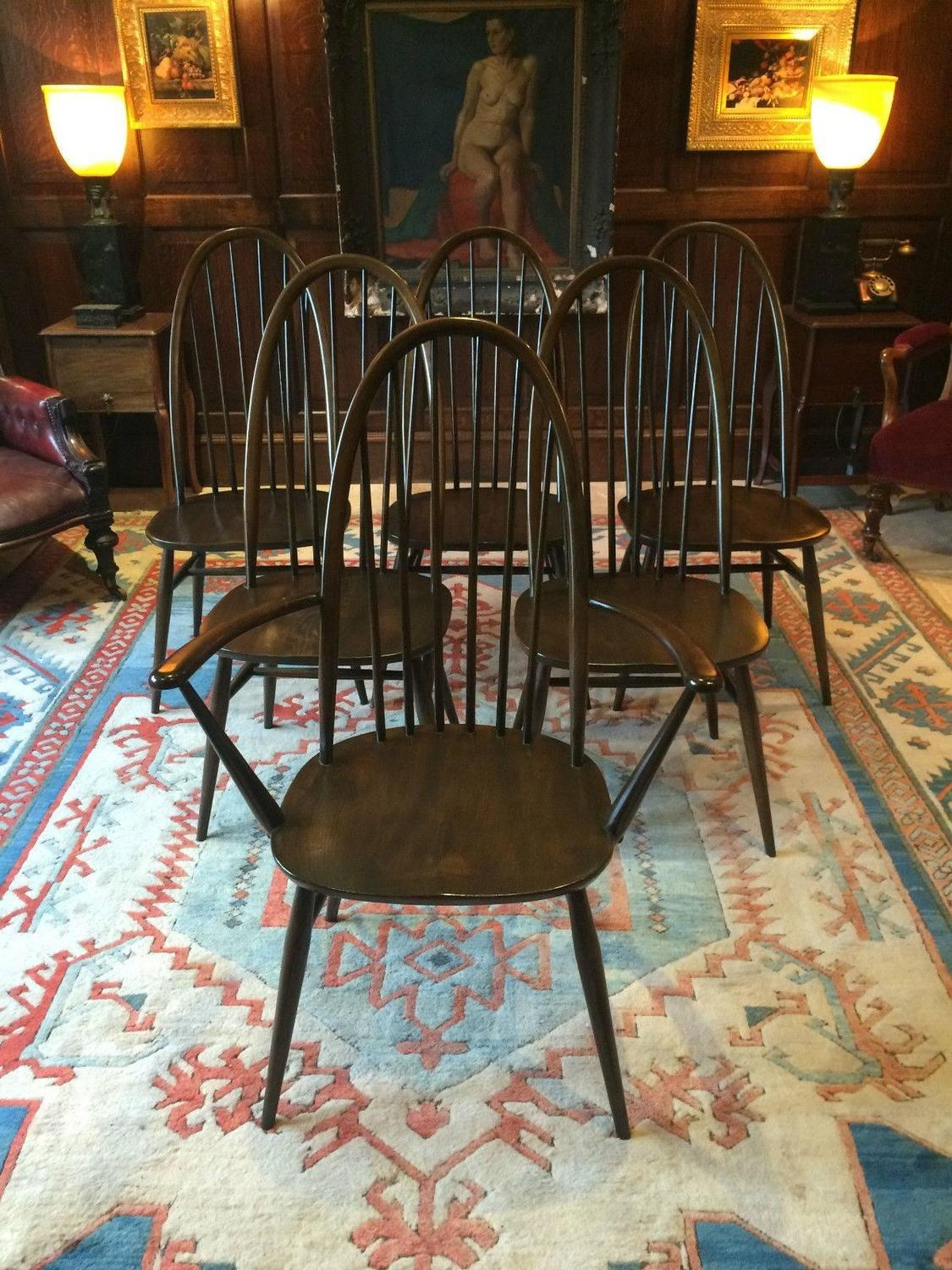 Vintage Ercol Dining Table With Six Chairs Solid Elm