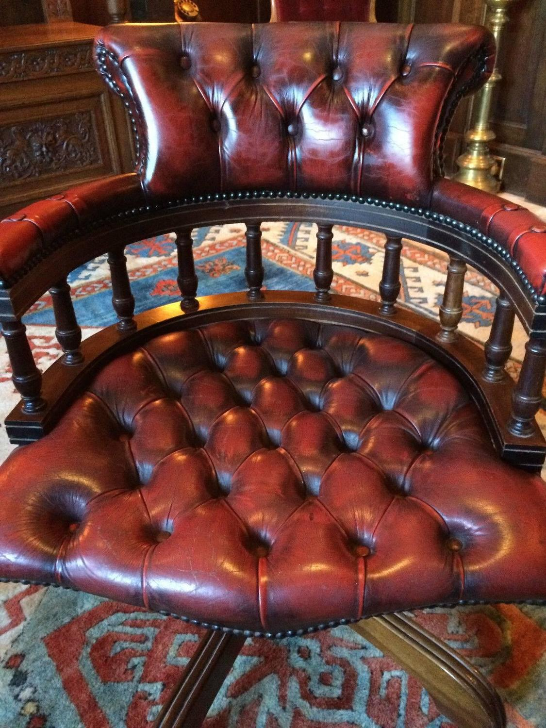 Antique style captains chair desk chesterfield leather ox for Decor jewelry chesterfield