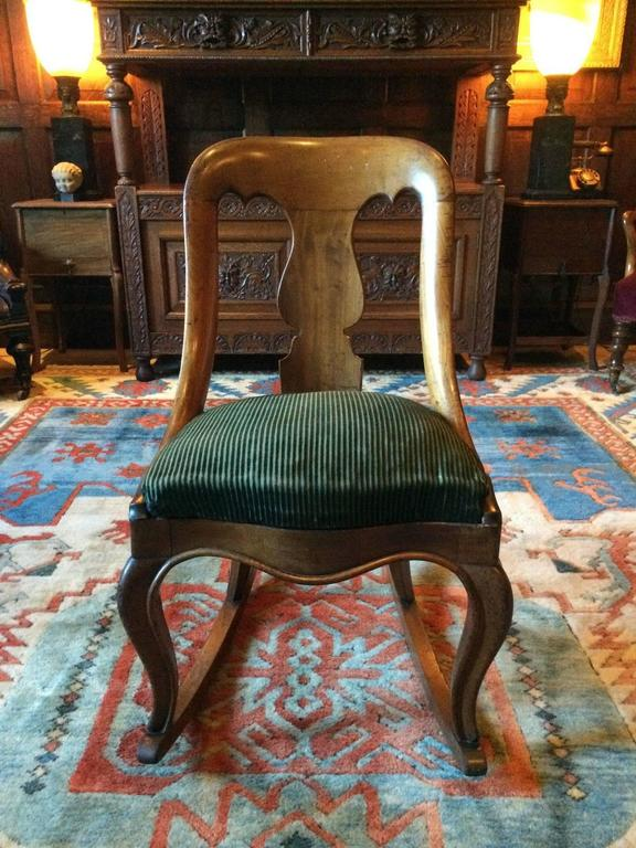 A stunningly beautiful and very rare antique early Victorian light mahogany rocking  chair circa 1840, - Antique Victorian Rocking Chair Mahogany 19th Century Rocker