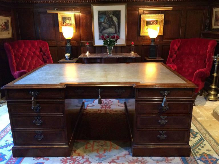 Antique Style Large Partners Desk Walnut Brights Of Nettlebed 3