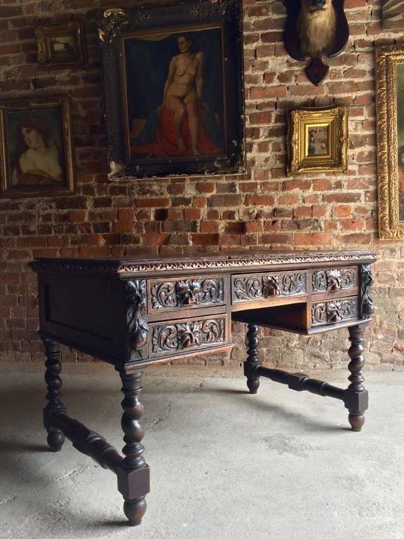 Antique Green Man Kneehole Desk Solid Oak Victorian 19th
