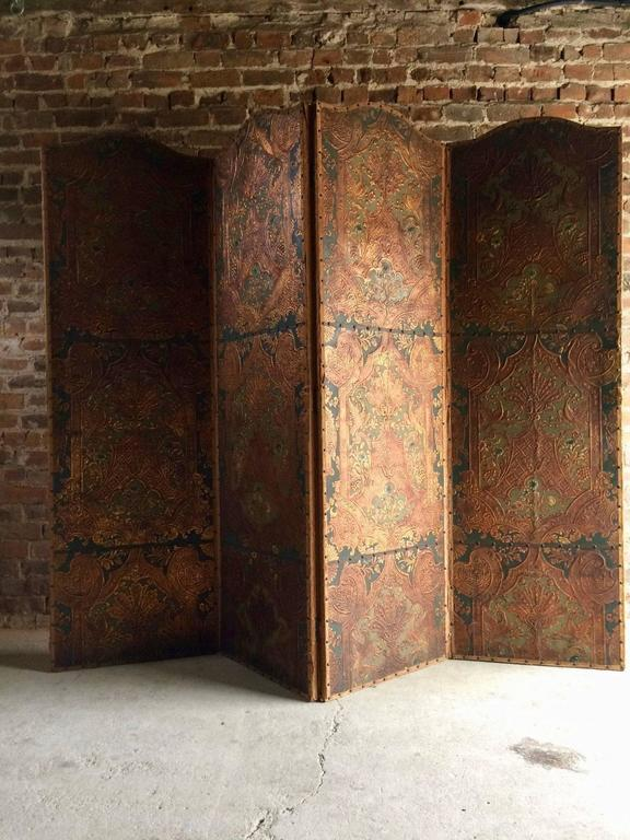 Antique Screen Room Divider Four Fold Victorian Leather