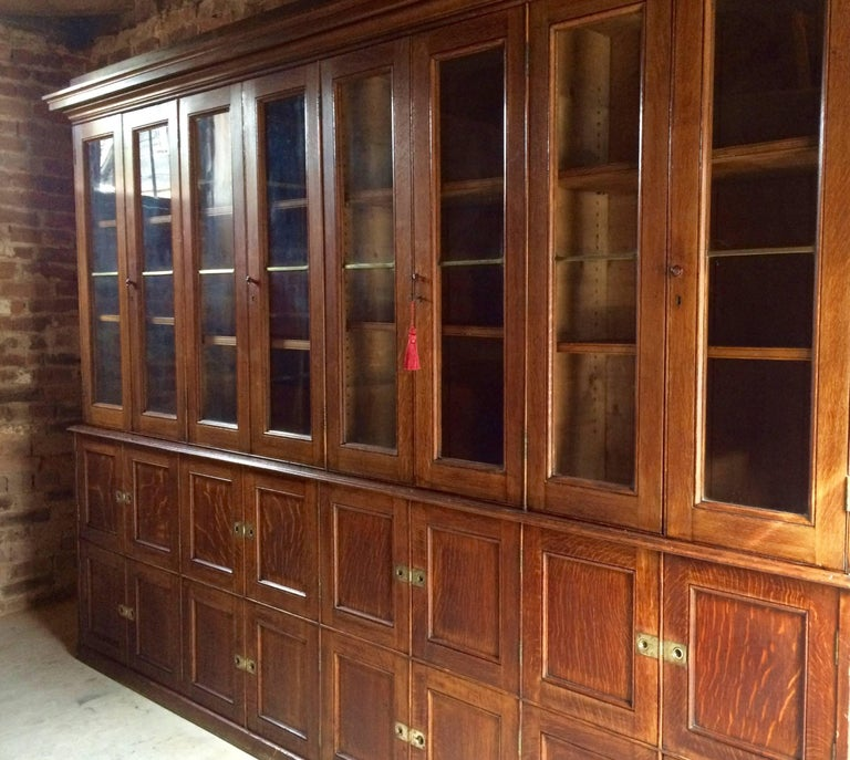 Antique Locker Cabinet Bookcase Oak Victorian 19th Century Circa 1875 3