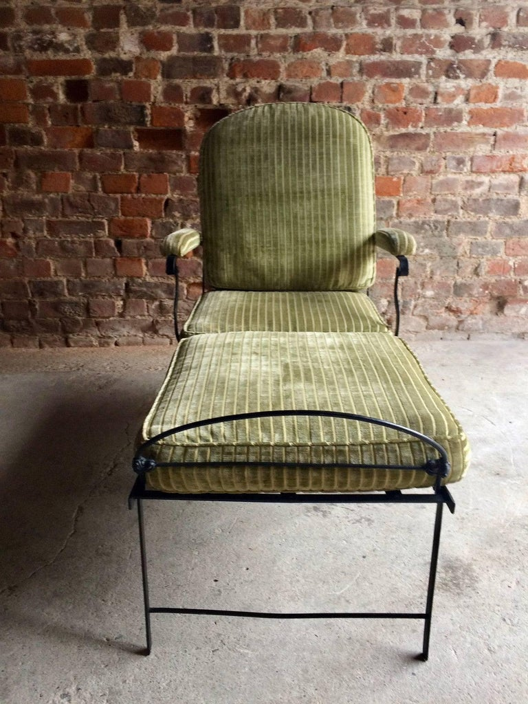 Antique Campaign Daybed Fold Out Chair Cast Iron Casters